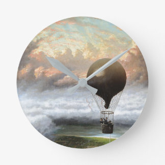 Early Hot Air Balloon Stormy Clouds Wall Clock