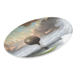 Early Hot Air Balloon Stormy Skies Serving Platter