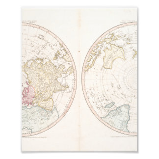 Early Map 1790 of Northern Southern Hemispheres Photo Print
