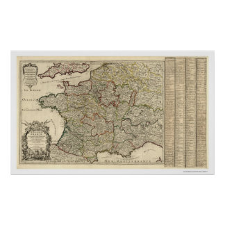 Early Map Of France 1700 Poster