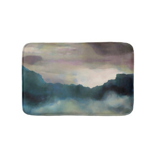 Early Morning Clouds Consume the Mountains Bathroom Mat