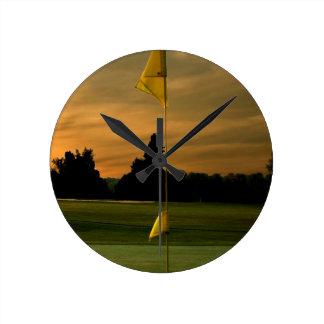 Early morning golf wall clock