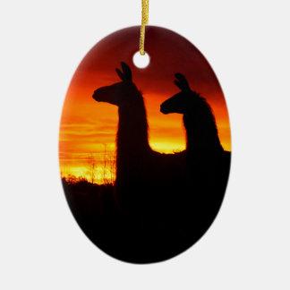 Early Morning Llamas Ceramic Oval Ornament
