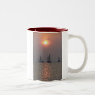 Early morning sail Two-Tone coffee mug