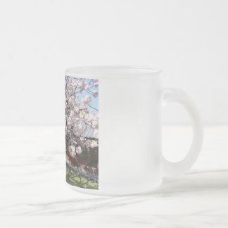early morning sakura frosted glass coffee mug