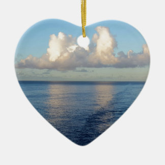 Early morning Seascape Cloud reflections Ceramic Heart Ornament