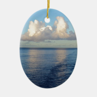 Early morning Seascape Cloud reflections Ceramic Oval Ornament