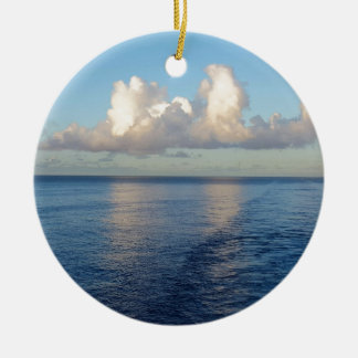 Early morning Seascape Cloud reflections Round Ceramic Ornament