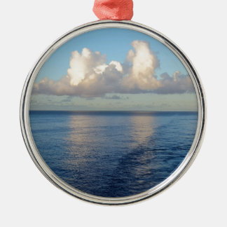 Early morning Seascape Cloud reflections Silver-Colored Round Ornament