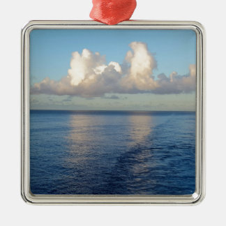 Early morning Seascape Cloud reflections Silver-Colored Square Ornament