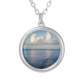 Early morning Seascape Cloud reflections Silver Plated Necklace
