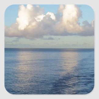 Early morning Seascape Cloud reflections Square Sticker