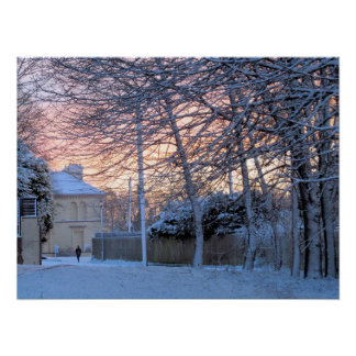 Early Morning Snowy Winter - Poster