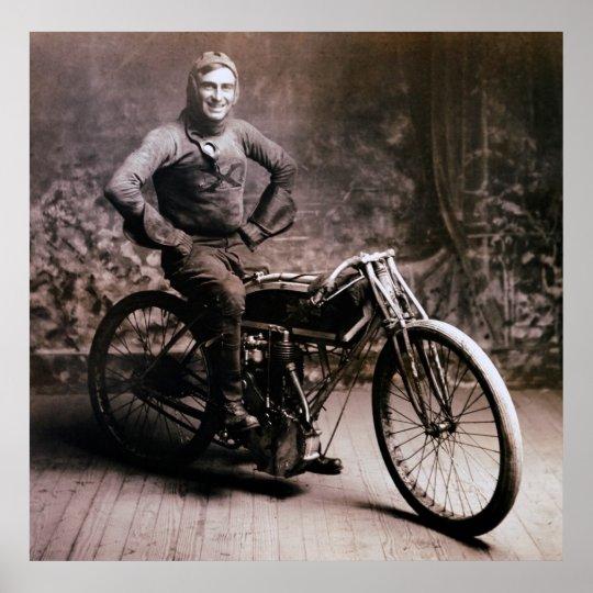 EARLY MOTORCYCLE PIONEER RAY WEISHAAR  1914 POSTER