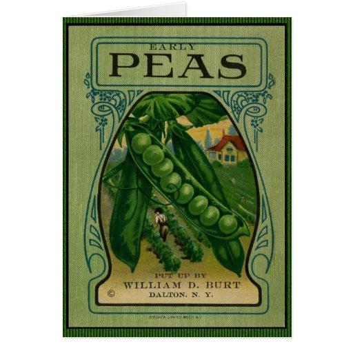 Early Peas Vintage Seed Packet Greeting Cards