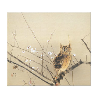 Early Plum Blossoms by Nishimura Goun, Owl Art Canvas Print