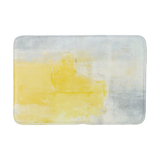 'Early Riser' Grey and Yellow Abstract Art Bathroom Mat