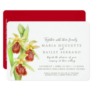 Early Spider orchid watercolor wedding invites
