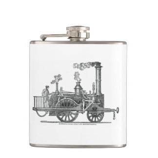 Early Steam Locomotive Hip Flask