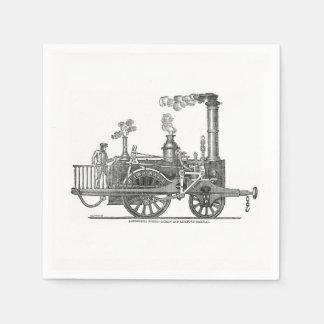 Early Steam Locomotive Paper Napkin
