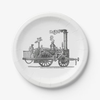 Early Steam Locomotive Paper Plate