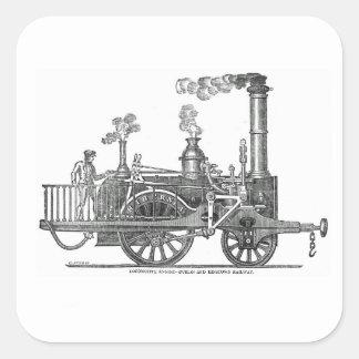 Early Steam Locomotive Square Sticker