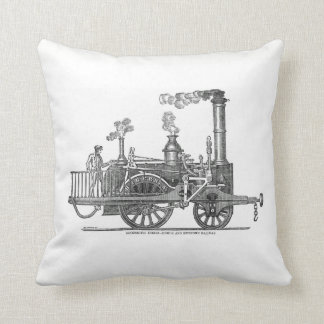 Early Steam Locomotive Throw Pillow