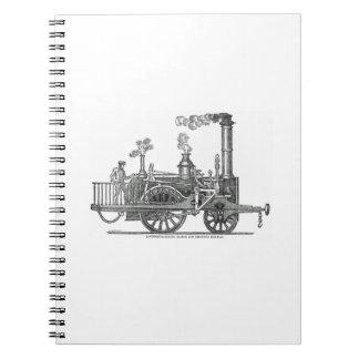 Early Steam Train Locomotive Spiral Notebook