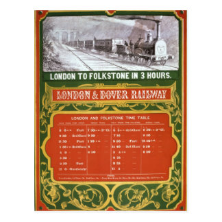 Early timetable for the London to Dover Railway Postcard