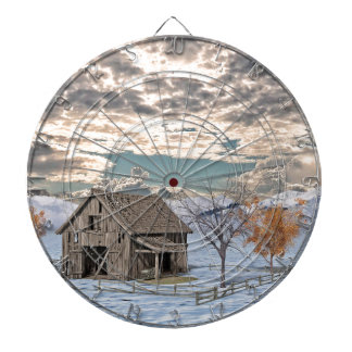 Early Winter Barn Scene Dartboard