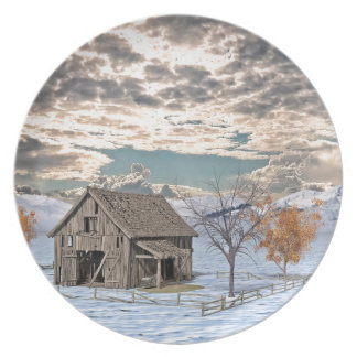 Early Winter Barn Scene Dinner Plates