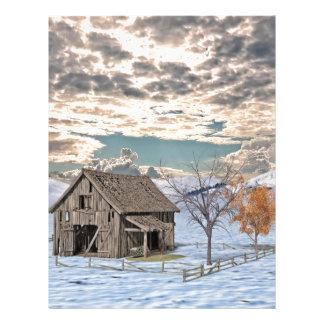 Early Winter Barn Scene Letterhead