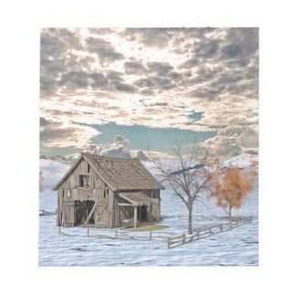 Early Winter Barn Scene Notepad
