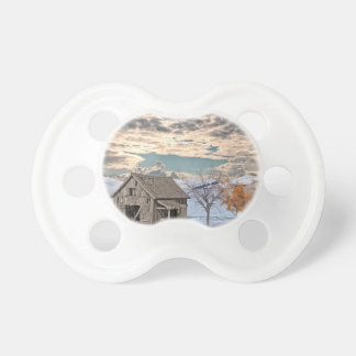 Early Winter Barn Scene Pacifier