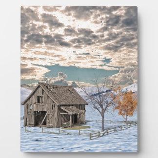 Early Winter Barn Scene Plaque