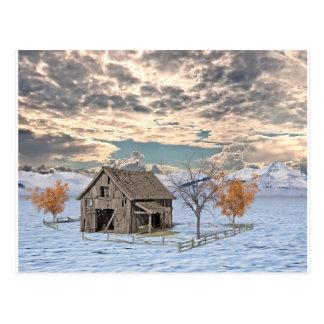 Early Winter Barn Scene Postcard