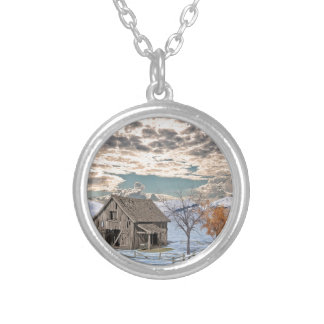 Early Winter Barn Scene Silver Plated Necklace