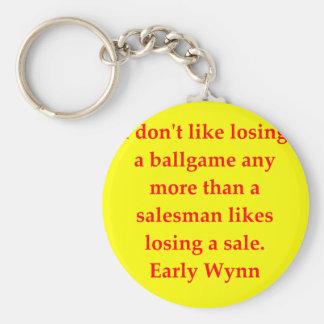 early wynn quote basic round button keychain
