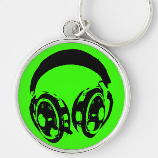 Earphones Silver-Colored Round Keychain