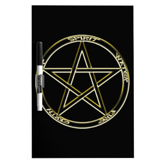 Earth, Air and Fire Pentagram Dry Erase Whiteboard