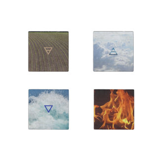 Earth, Air, Fire and Water: Four Elements Magnets Stone Magnet