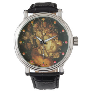 EARTH ALLEGORY,MAN PORTRAIT WITH WILD ANIMALS WATCH