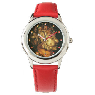 EARTH ALLEGORY,MAN PORTRAIT WITH WILD ANIMALS WRISTWATCHES