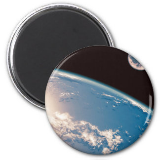 Earth and Moon 2 Inch Round Magnet