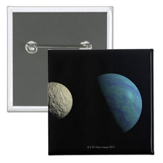Earth and moon 2 inch square button
