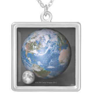 Earth and Moon 2 Silver Plated Necklace