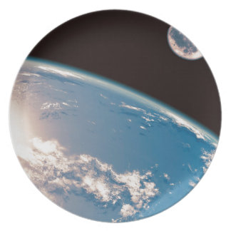 Earth and Moon Dinner Plate