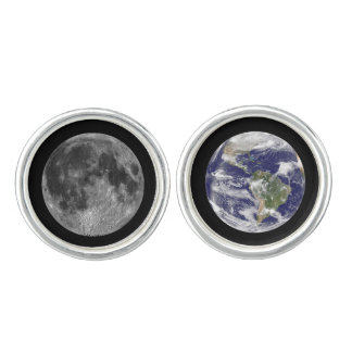 Earth and Moon Outer Space Astrophysics Cuff Links