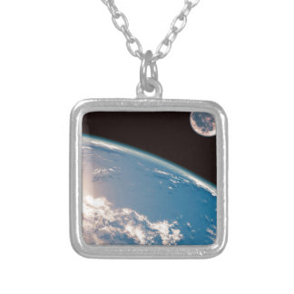Earth and Moon Silver Plated Necklace