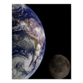Earth and Moon Space Image Poster